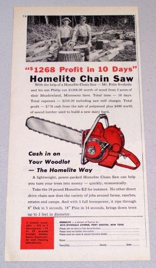 1956 HOMELITE EZ Power Chain Saw Print Ad Felix Philip Svoboda Meadowland Minn