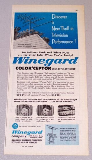 1956 WINEGUARD Color'ceptor High-Style Antenna Print Ad