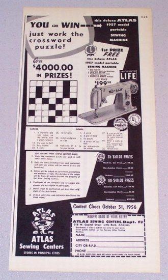1956 ATLAS Model 1957 Portable Sewing Machine Print Ad