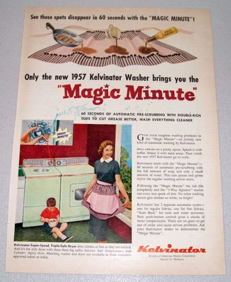 1957 KELVINATOR Magic Minute Washer Color Print Ad