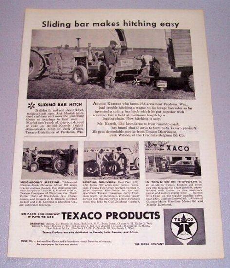 1957 TEXACO Products Sliding Bar Hitch Farming Print Ad
