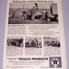 1957 TEXACO Products Sliding Bar Hitch Farming Print Ad