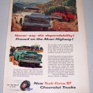 1957 CHEVROLET Chevy Task Force Trucks Alcan Highway Art Print Ad