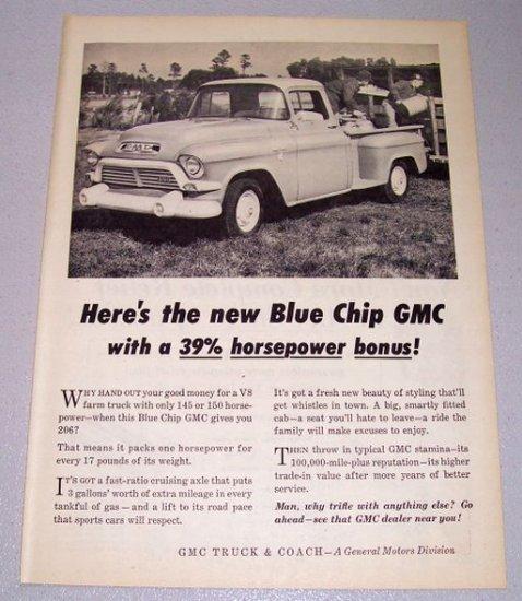 1957 Blue Chip GMC Pickup Truck Print Ad
