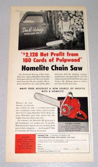 1957 HOMELITE EZ Chain Saw Print Ad Donald Robarge Rice Lake Wisconsin