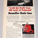1957 HOMELITE EZ Chain Saw Print Ad Donald Robarge Rice Lake Wisconsin