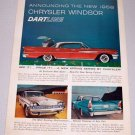 1958 Chrysler Windsor Dartline Automobile Color Print Car Ad
