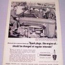 1958 Champion Spark Plugs Massey Ferguson Tractor Art Print Ad
