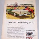 1956 Chevrolet Bel Air Convertible Automobile Color Print Car Art Ad