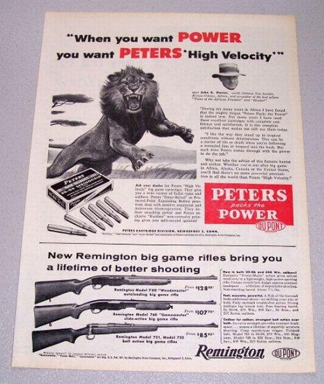 1956 Peters 30-06 Springfield Shells Lion Animal Art Print Ad