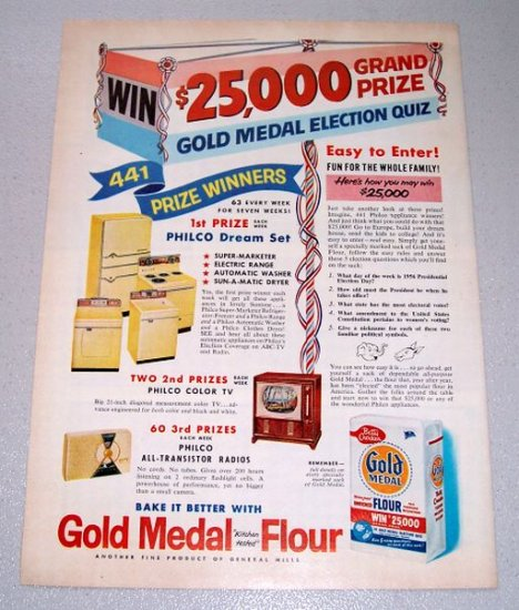 1956 Gold Medal Flour Election Quiz Color Print Ad