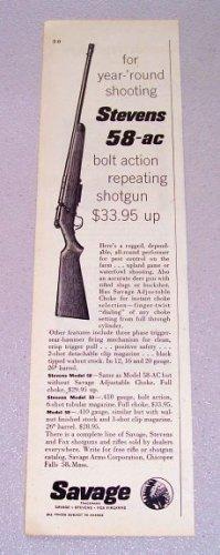 1956 Stevens 58-AC Bolt Action Repeating Shotgun Print Ad
