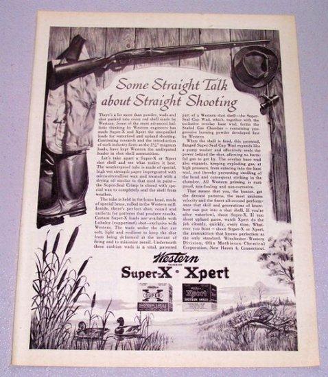1956 Western Super X Xpert Shot Shell Ammunition Hunting Art Print Ad