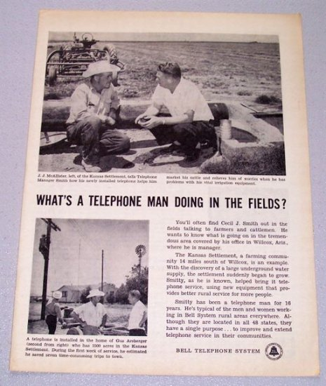 1956 Bell Telephone System Print Ad JJ McAllister Kansas