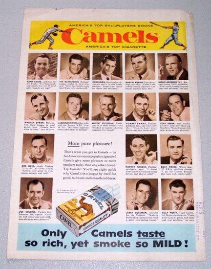 1956 Camel Cigarettes Color Tobacco Print Ad - Top Ballplayers