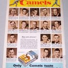 1956 Camel Cigarettes Color Tobacco Print Ad - Top Ballplayers