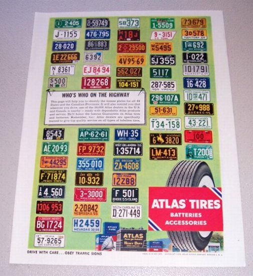 1955 Atlas Tires 50 License Plates Color Print Ad