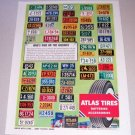 1955 Atlas Tires 50 License Plates Color Print Ad