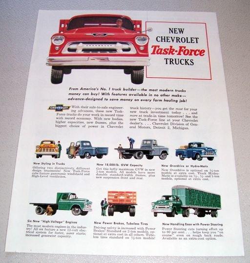 1955 Chevrolet Task Force Trucks Color Print Ad