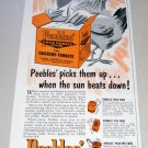 1955 Peeble's Free Choice Feed Chicken Art Print Ad