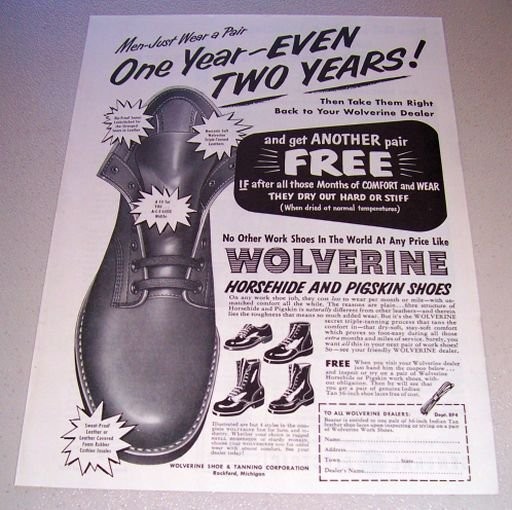 1955 Wolverine Horsehide Pigskin Shoes Print Ad