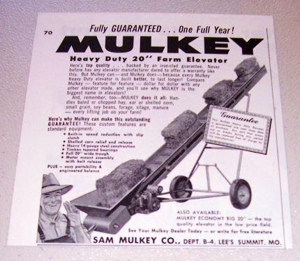 """1955 Mulkey Heavy Duty 20"""" Farm Elevator Farming Print Ad"""