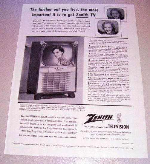 1955 Zenith Model X Hi Fidelity Television TV Print Ad