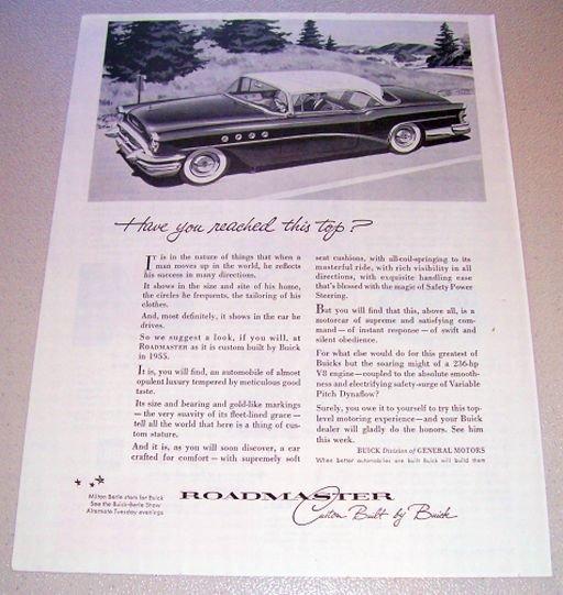 1955 Buick Roadmaster Automobile Print Car Ad