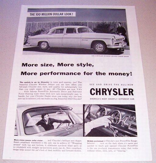 1955 Chrysler Windsor Deluxe 4 Door Sedan Automobile Print Car Ad