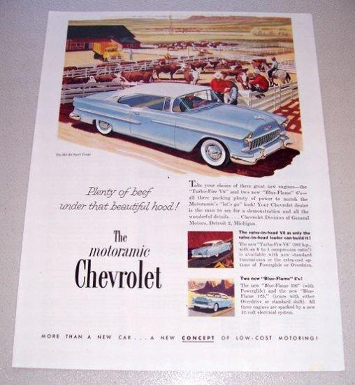 1955 Chevrolet Bel Air Sport Coupe Automobile Print Car Ad Cattle Farming Art