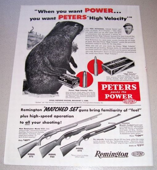 1955 Peters High Velocity 222 Remington Shells Print Ad
