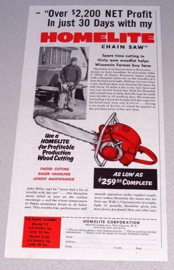 1955 Homelite Chain Saw Print Ad John F Miller Pepin Wisconsin