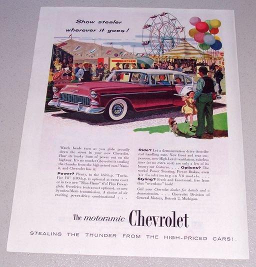 1955 Chevrolet Automobile Print Car Ad Carnival Art