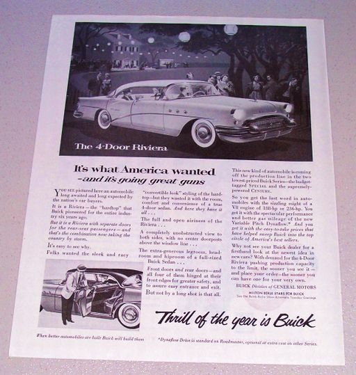 1955 Print Car Ad Buick 4 Door Riviera Automobile