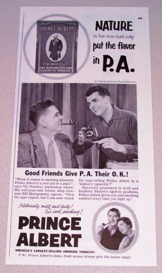 1955 Vintage Print Ad Prince Albert Pipe Tobacco Vick Starkey Bill Montgomery