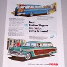 1955 Color Print Car Ad Ford Country Squire Custom Ranch Station Wagons Automobiles