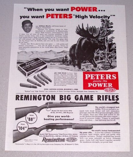 1955 Hunting Print Ad Peters High Velocity 30-06 Springfield Shells Big Moose Animal Art