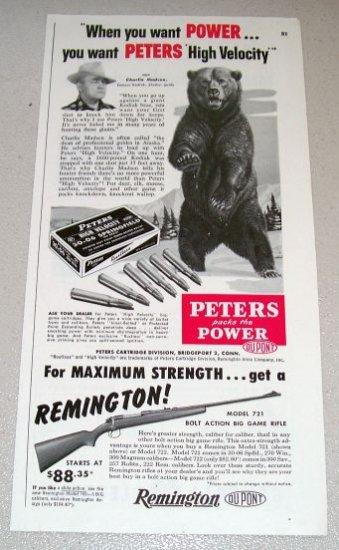 1954 Print Ad Peters High Velocity 30-06 Springfield Shells Bear Animal Art
