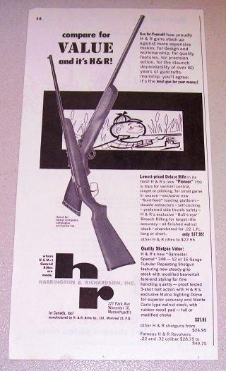 1954 Print Ad Harrington Richardson Pioneer 750 Rifle Gamester Special 348 Shotgun