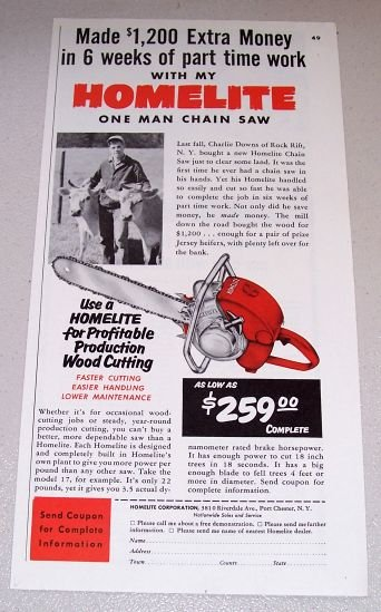 1954 Print Ad Homelite Model 17 Power Chain Saw Charlie Downs Rock Rift NY