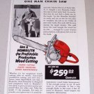 1954 Print Ad Homelite Model 17 Power Chain Saw Charlie Downs Rock Rift NY