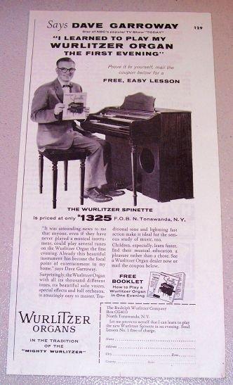 1954 Print Ad Wurlitzer Spinette Organ NBC Today Show Celebrity Dave Garroway