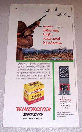 1954 Color Print Ad Winchester Super Speed Shotgun Shells Duck Hunting Art