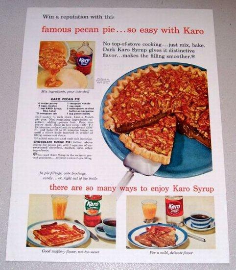 1954 Color Print Ad Karo Syrup Pecan Pie Recipe