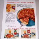 1954 Color Print Ad Karo Syrup Pecan Pie Recipe