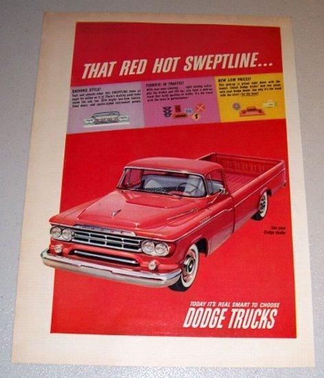 1959 Color Print Ad Dodge Sweptline Red Pickup Truck