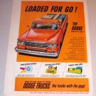 1959 Color Print Ad Dodge Sweptline Orange Pickup Truck