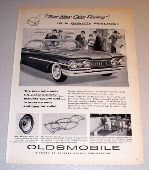 1959 Car Print Ad Oldsmobile Dynamic 88 Automobile