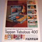 1959 Color Print Ad Tappan Fabulous 400 Built In Range
