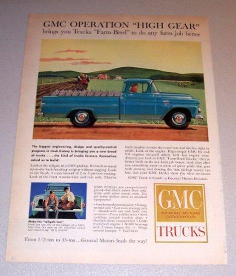 1959 Color Print Ad GMC Blue Pickup Truck Farming Art